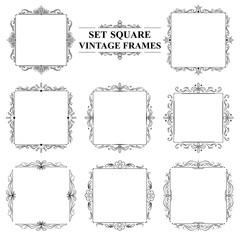 black and white set of vintage elegant square frames with floral ornament
