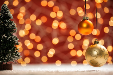 Warm Holiday Christmas Scene with baubles blurred lights and luxurious feeling