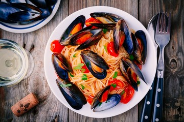 Seafood pasta spaghetti with mussels and tomatoes