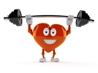 Heart character lifting heavy barbell