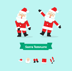 Christmas Santa Claus collection paper style vector illustration symbol, happy new year father, icon isolated on white background, dancing, funny dance, label, flat, xmas hat, beard, body, legs, face