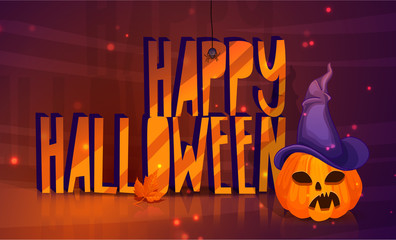 Poster for a happy Halloween with a pumpkin head in a witch hat. Horizontal banner for a feast of horror. Vector.