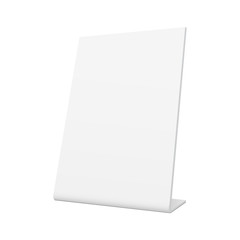 White blank pos stand banner mockup - half side 3/4 view. Template to display your design ideas. Vector illustration