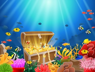 Treasure chest in underwater background. Vector illustration