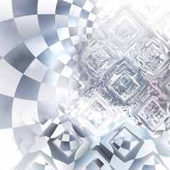 Distorted silver checkered shapes. Abstract metallic background. Intricate fractal texture. Digital graphics. 3D rendering.