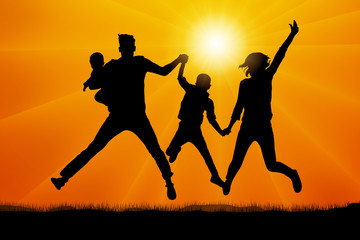 Family in jumping at sunset silhouette vector