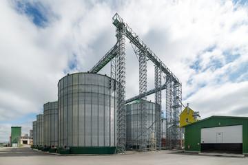 Large steel silos, storage of grain.