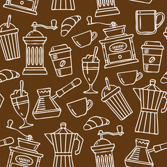 Seamless pattern. Sketch Illustration Coffee,