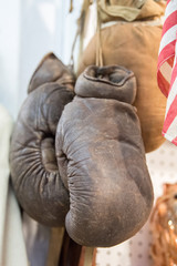 Old boxing gloves detail close up