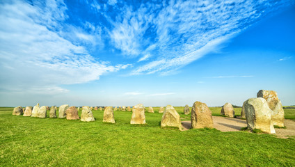 Ales Stenar- panoramic view of famous stone circle