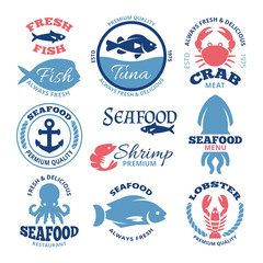 Seafood nautical vector vintage labels and restaurant emblems