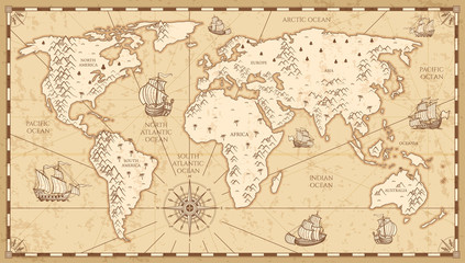 Vintage physical world map with rivers and mountains vector illustration