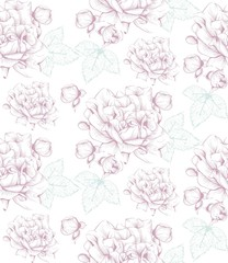 Vintage flowers pattern. Line art hand drawn delicate backgrounds