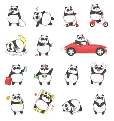 Stores à enrouleur Panda Set of cute panda character with different emotions, isolated on white background