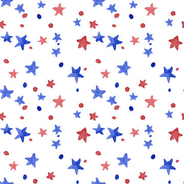 Seamless watercolor painted pattern stars red and blue