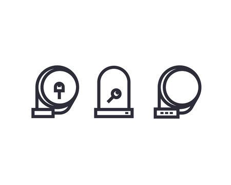 Bike locks icons on white