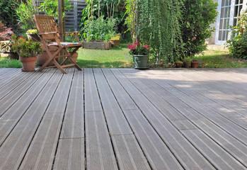 wooden terrace in garden