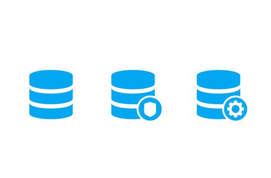database, data storage icons on white