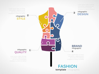Fashion infographic template with fashion model symbol made out of jigsaw pieces