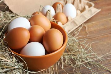 Eggs in a deep bowl