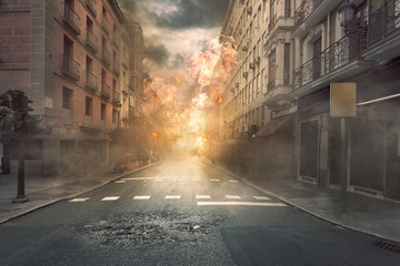 Wall Mural - View of destruction city with fires and explosion