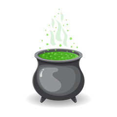 Witch s cauldron with green potion for Halloween isolated on white background. Graphic element for your design. Vector illustration.