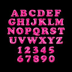 Pink alphabet foil party celebration balloons. black background