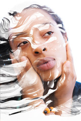 Paintography, painting combined with a portrait of an african american woman with pouty lips and a nostalgic distant expression