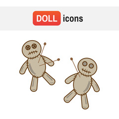 Voodoo doll vector icon. Halloween voodoo doll