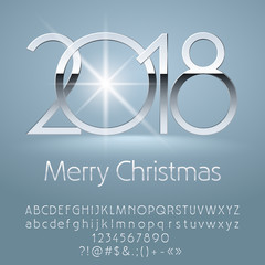 Vector luxury Merry Christmas 2018 Greeting Card with Alphabet set of Letters, Symbols and Numbers. Silver Font contains Graphic Style