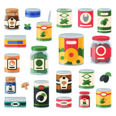 Tins canned goods food container grocery store and product storage aluminum label conserve vector illustration.
