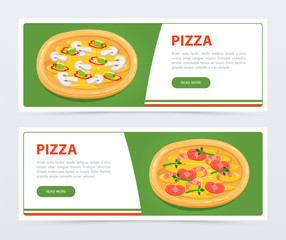Pizza banner template with different ingredients