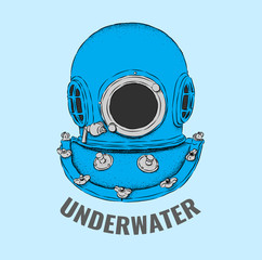 An old helmet of a diver. Sketch of an aqualung. Vector illustration