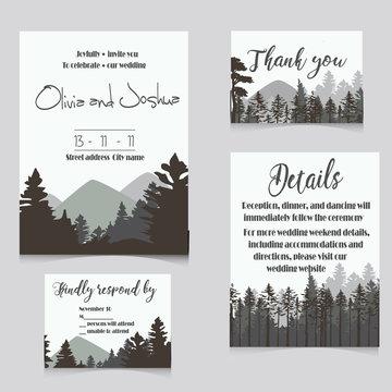 wedding invitation set with mountains invitation card