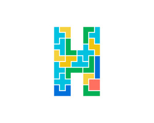 Letter H Puzzle Icon Logo Design Element