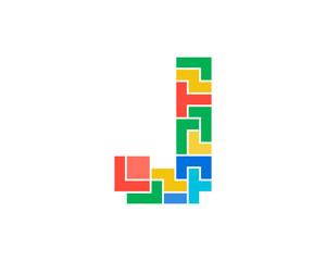 Letter J Puzzle Icon Logo Design Element