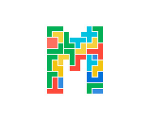Letter M Puzzle Icon Logo Design Element