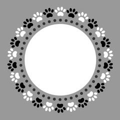 Black white paw prints pet round frame with blank space for your text.