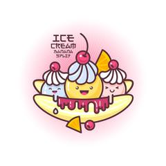Kawaii ice cream illustration.  Banana split iсe cream with chocolate, lime and cherries.