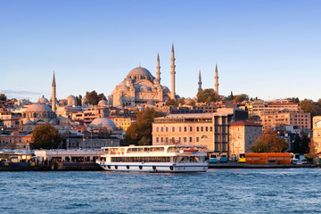 Panoramic cityscape over Bosphorus with Suleymaniye Mosque in Istanbul, Turkey
