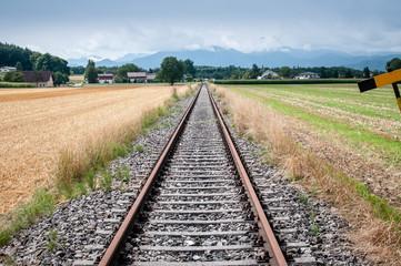 rail tracks with blue sky