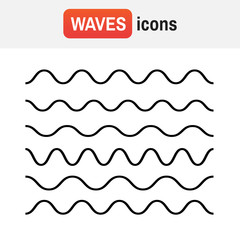 Wave line icon. Waves outline icon, modern minimal flat design style