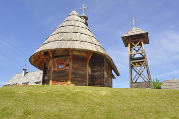 Wooden Church in Ethno Village Mecavnik in Serbia