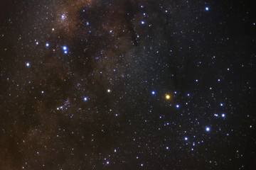 Scorpio constellation and the center of the milky way galaxy,Long exposure photograph, with grain