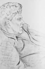 Portrait of middle-aged men. Portrait of a man in profile