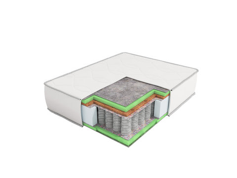 Orthopedic mattress in the section prospect 3D render on white background no shadow