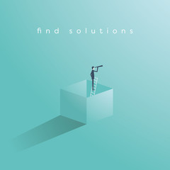 Think outside the box business concept vector with businessman standing on ladder in a box and looking through monoscope as symbol of vision, goal, objective, strategy.
