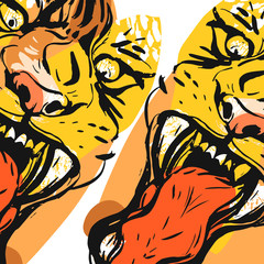 Hand drawn vector abstract graphic drawing of anger tiger face in orange colors isolated on white background.Hand made exotic collage illustration.Wild soul concept.Tigers head isolated.Logo,sign.