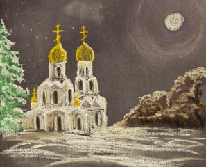 Winter landscape with Church. The Church is illuminated by the moon