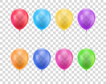 Balloons of different colors on a transparent background set. Colored balloons of realistic set on a transparent background for designers and illustrators. Gasbags template as a vector illustration
